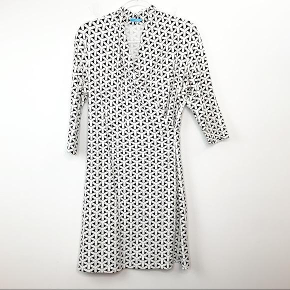 J. McLaughlin Panama Black & White Geometric Dress
